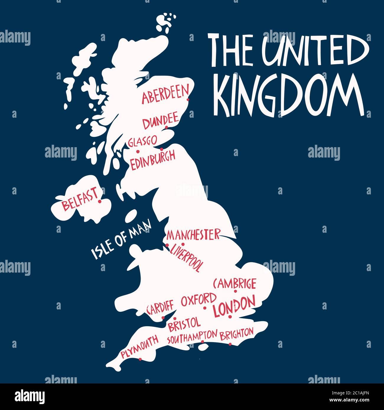 Cartina Geografica Inghilterra Da Colorare.Mappa Stilizzata Del Regno Unito Disegnata A Mano Da Un Vettore Illustrazione Di Viaggio Delle Citta Della Gran Bretagna Illustrazione Scritta Disegnata A Mano Europa Mappa Eleme Immagine E Vettoriale Alamy