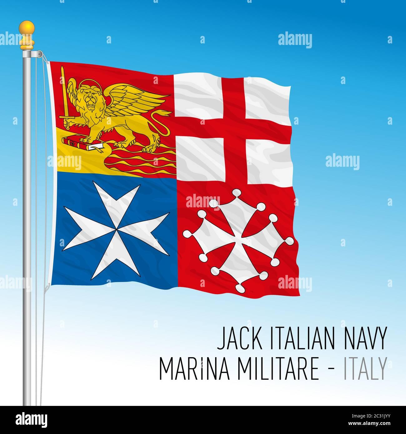 Bandiera jack della Marina militare Italiana, Italia, illustrazione vettoriale Illustrazione Vettoriale