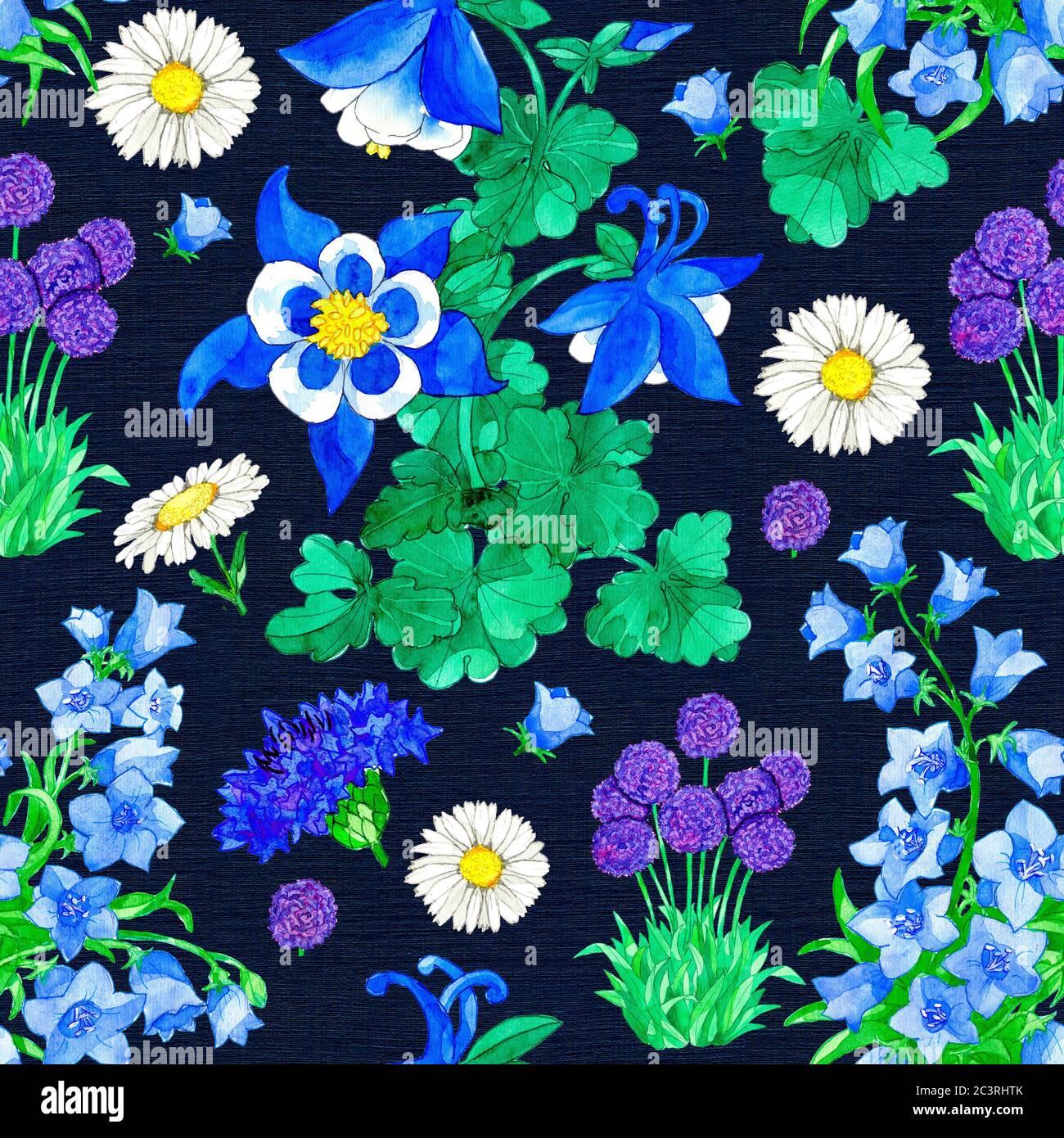 Motivo senza cuciture con Aquilegia, Allium, Bellflower e Cornflower su sfondo blu. Illustrazione botanica acquerello con elementi floreali per il testo Foto Stock