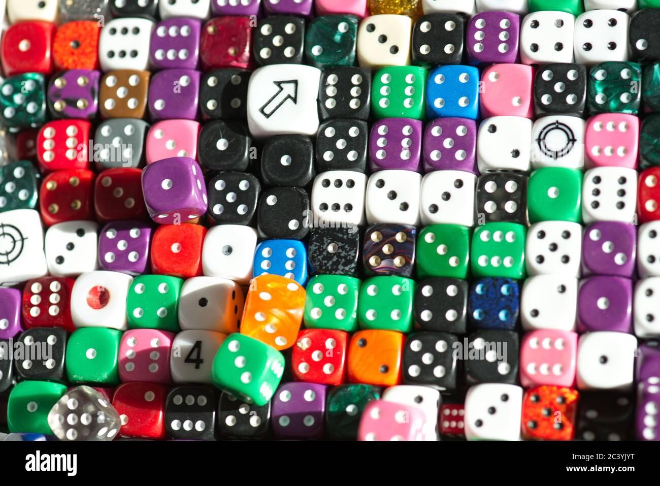 Dadi per il gioco, numero casuale Teoria. Foto Stock