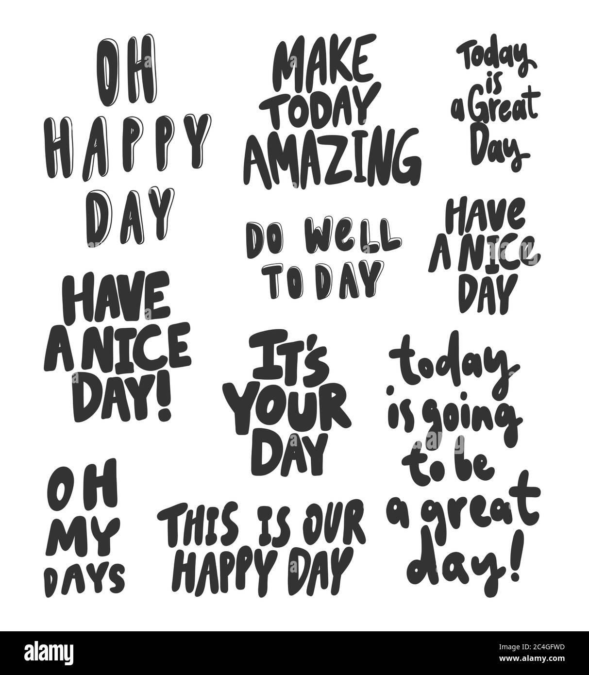 OH, felice, giorno, grande, bello, bene, stupefacente, oggi. Collezione di illustrazioni vettoriali disegnate a mano con scritte cartoon. Illustrazione Vettoriale
