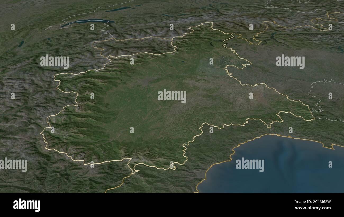 La Cartina Del Piemonte.Vista Satellitare Della Regione Piemonte Italia Rendering 3d Mappa Fisica Del Piemonte Pianure Montagne Laghi Catena Montuosa Delle Alpi Foto Stock Alamy