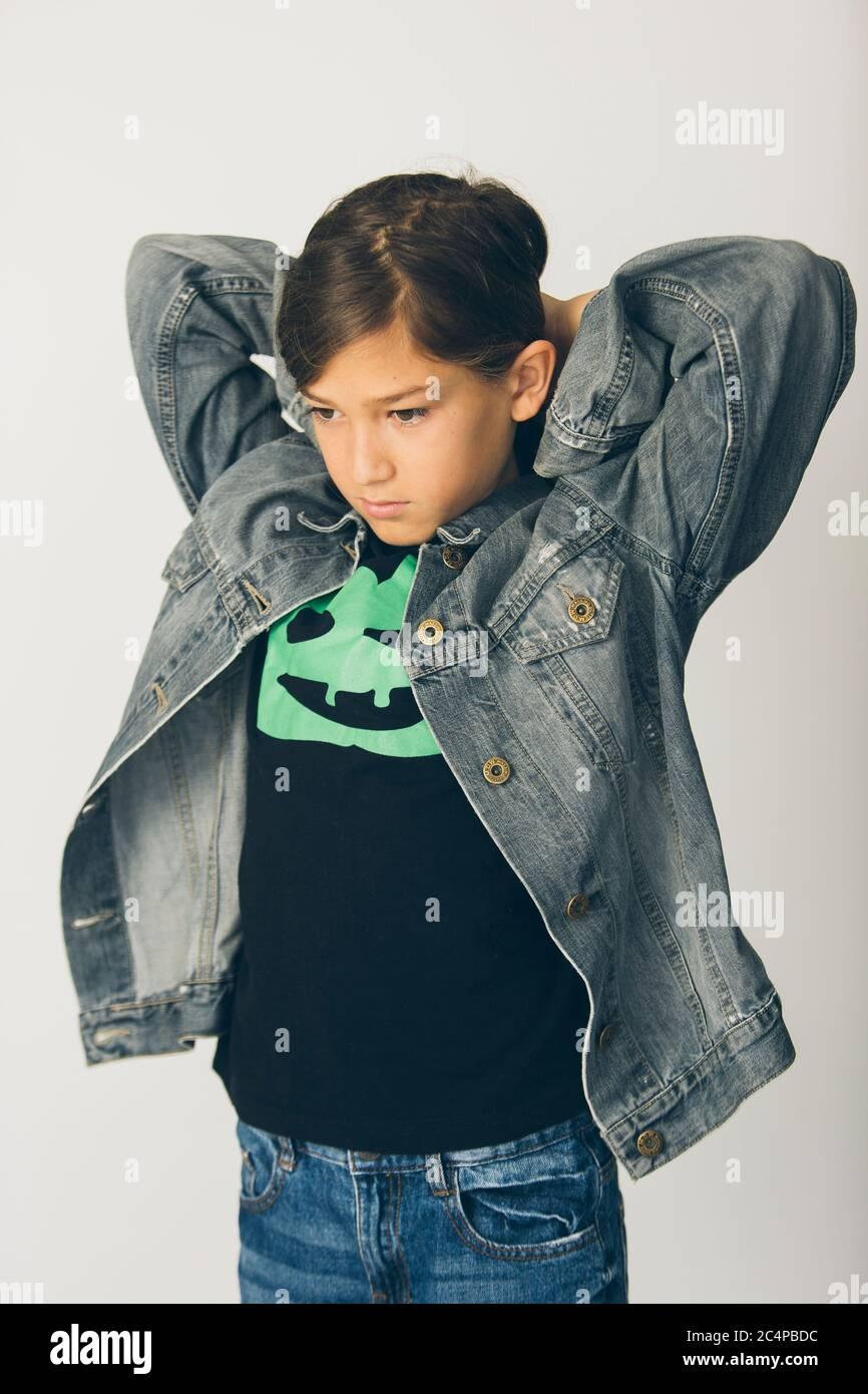 Blue Jeans Black Jacket Immagini e Fotos Stock Alamy