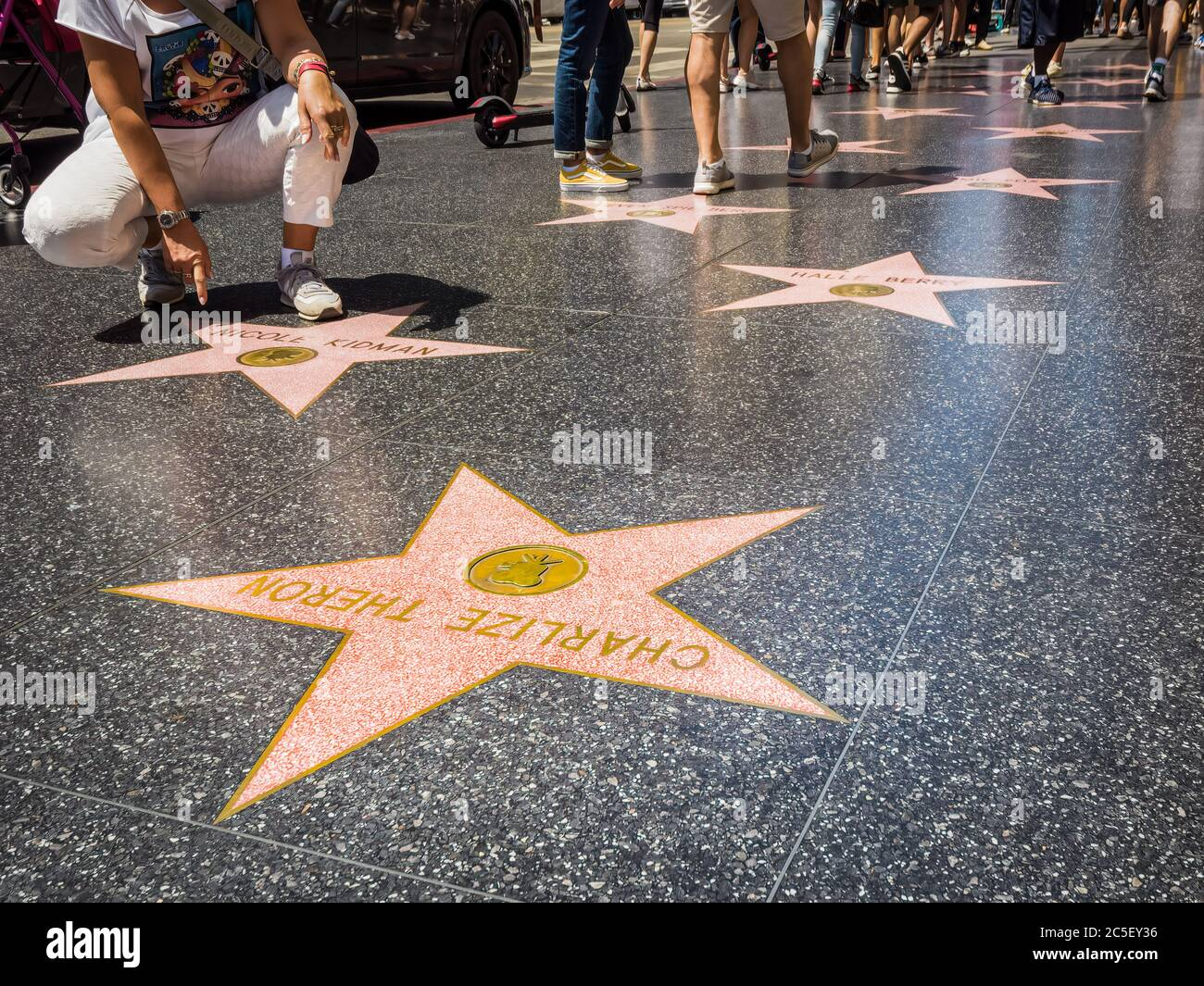 Los Angeles, California: Hollywood Boulevard e Walk of Fame. Foto Stock