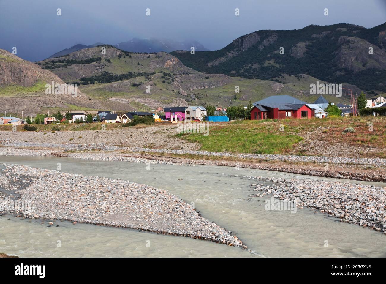 La vista su El Chalten, Patagonia, Argentina Foto Stock
