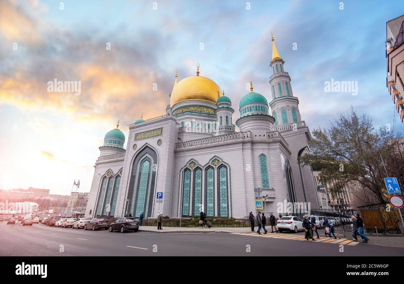 Mosca, Russia. La moschea della cattedrale di Mosca, una delle più grandi e più alte della Federazione Russa e dell'Europa Foto Stock