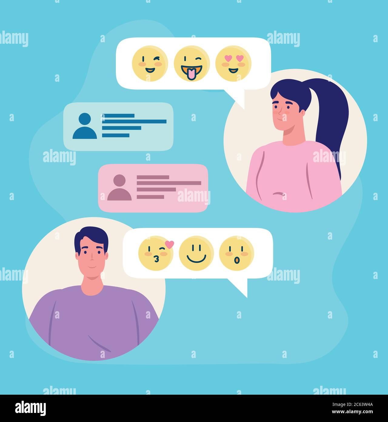 applicazione online dating service, chat di donna e uomo con emoji, persone moderne in cerca di coppia, social media, relazioni virtuali Illustrazione Vettoriale