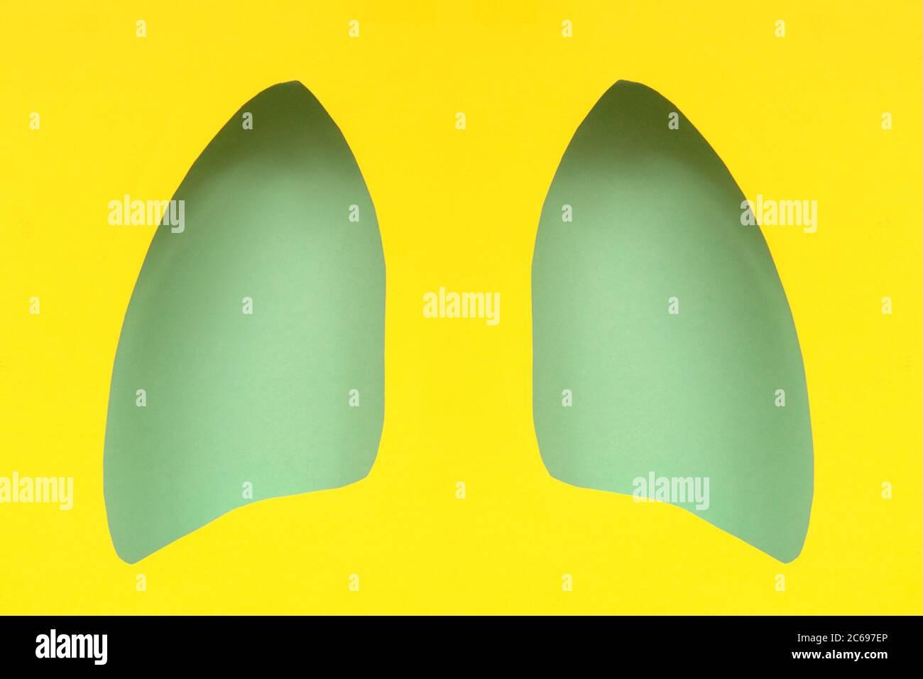 Carta simbolo polmoni arte, turchese e giallo. Giornata mondiale della tubercolosi. Assistenza sanitaria, medicina, cancro ai polmoni, organo donatore interno e smettere di fumare campai Foto Stock