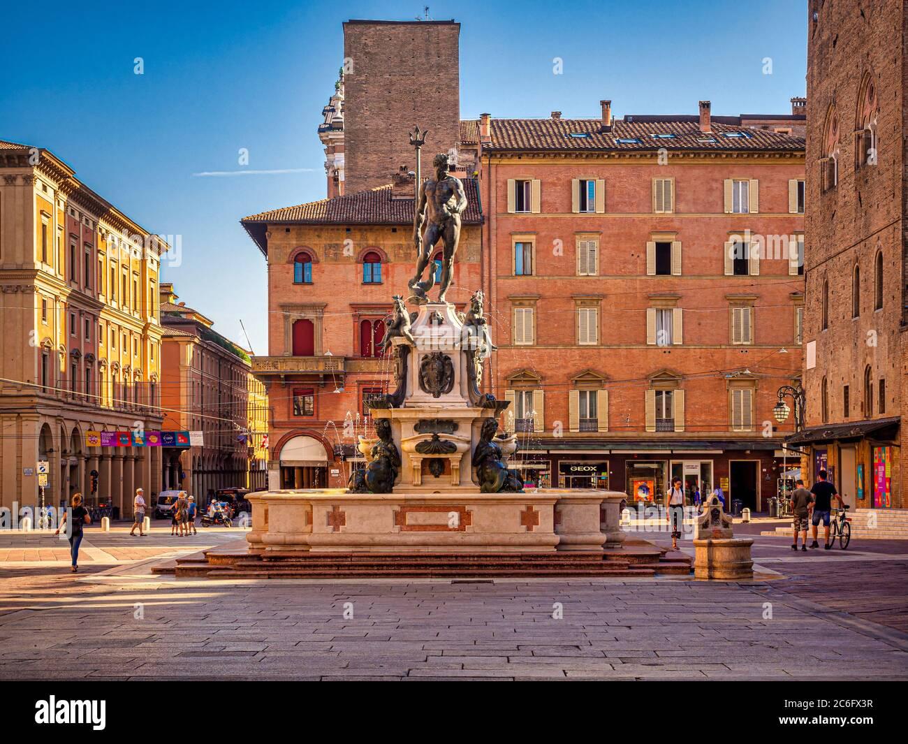 Fontana del Nettuno in Piazza del Nettuno. Bologna, Italia. Foto Stock