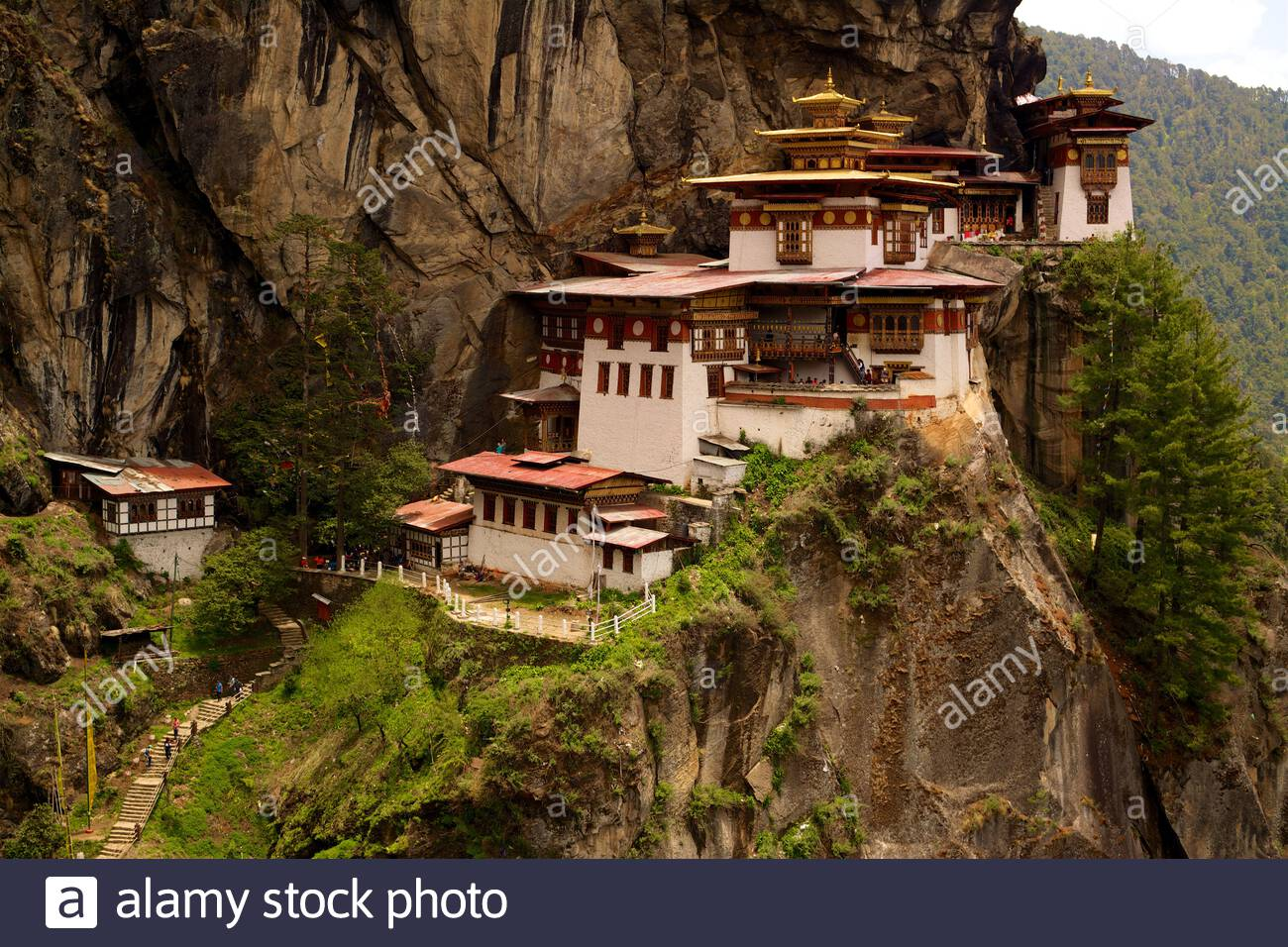 Il Monastero di Taktsang, conosciuto anche come Taktsang Lhakhang, il Nido della Tigre e Paro Taktsang, si trova su una scogliera sopra la Valle di Paro in Bhutan Foto Stock