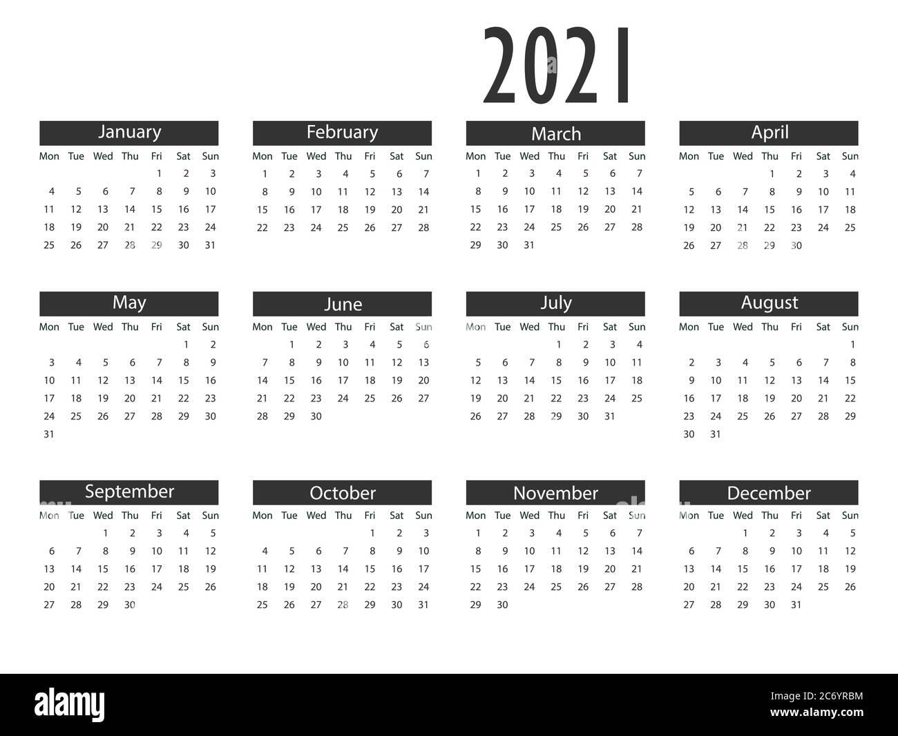 Calendario 2021, la settimana inizia lunedì. Illustrazione