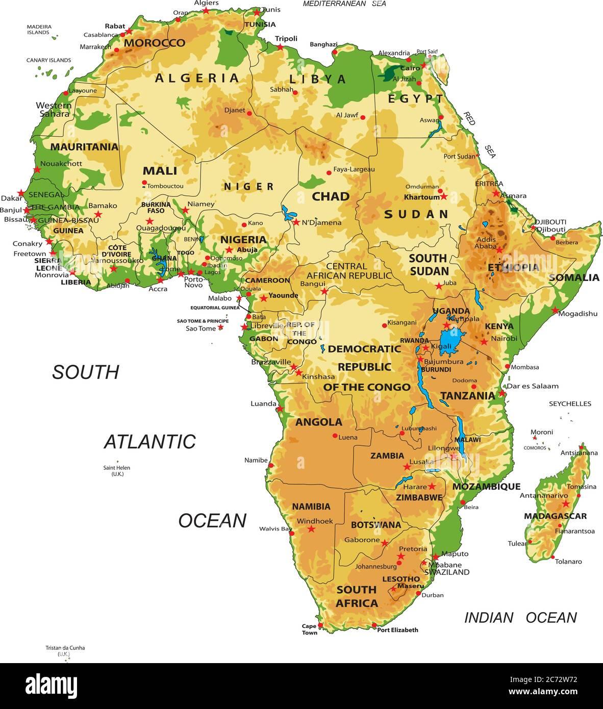 Cartina Dell Africa Fisica E Politica.East Africa Map Illustration Tanzania Immagini E Fotos Stock Alamy