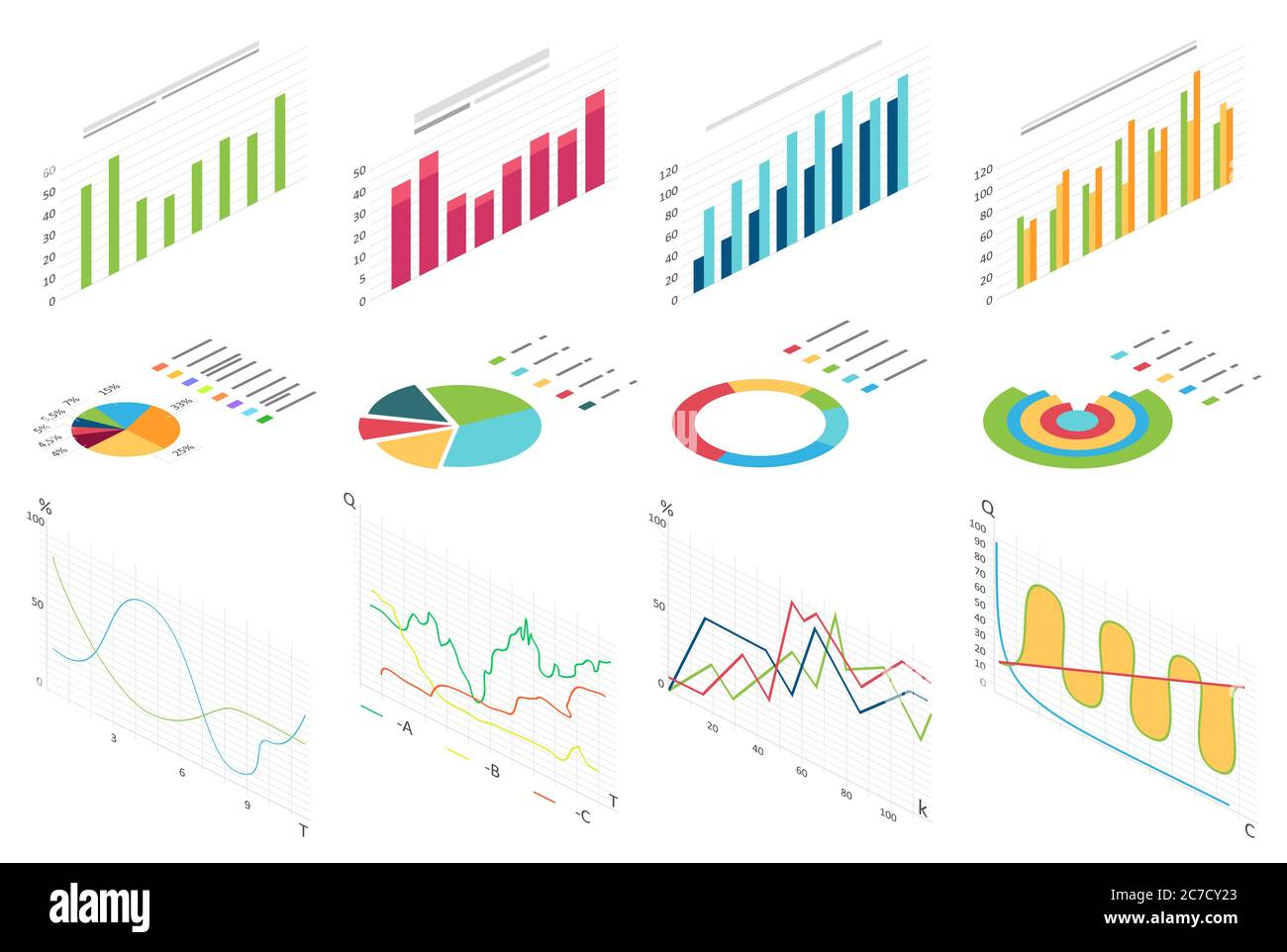 Grafico isometrico flat data finance, grafici di business finance per infografica. Dati grafici delle forme d'onda, statistiche dei diagrammi 2d, colonne informative illustrazione vettoriale isolata Illustrazione Vettoriale