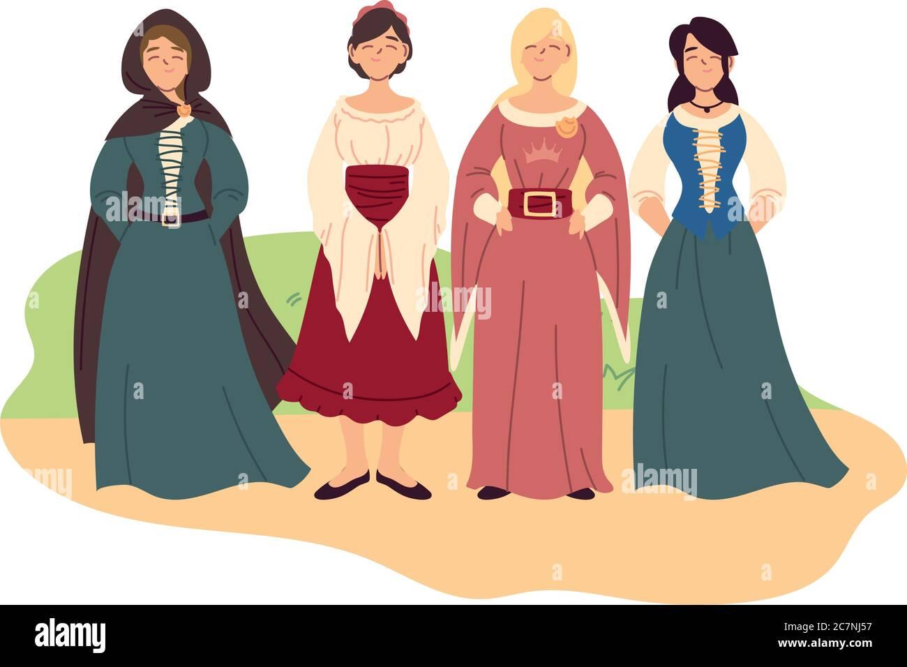 vignetta con donne medioevali