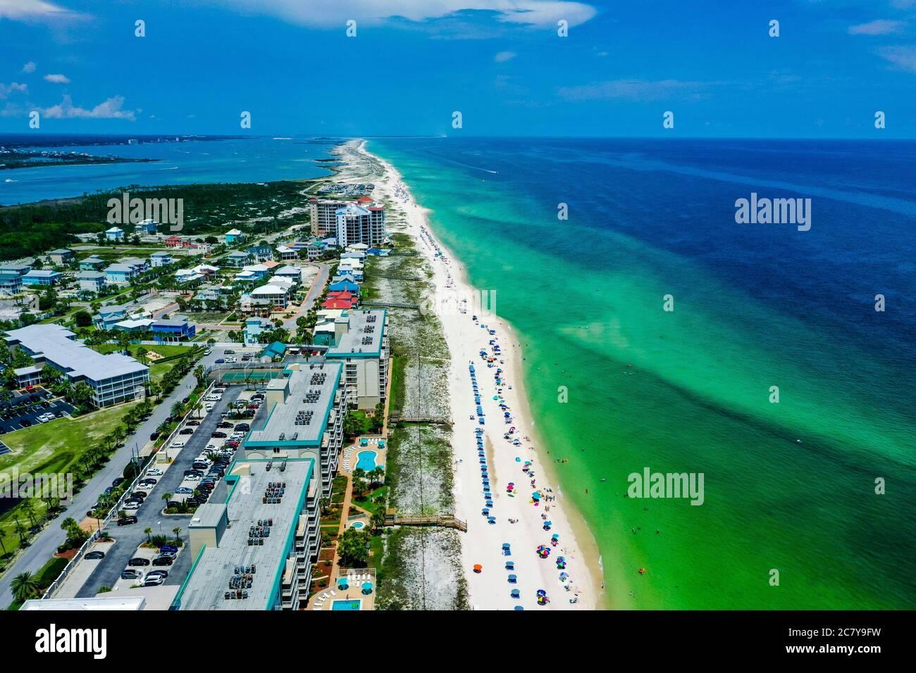 Vista aerea della spiaggia di Perdido Key in Florida Foto Stock