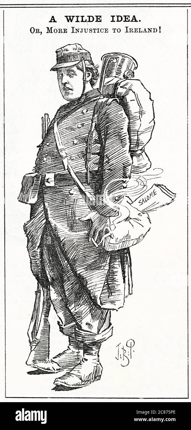 Cartoon, A Wilde idea -- Oscar Wilde, drammaturgo irlandese, raffigurato come un soldato francese (un riferimento al fatto che ha scritto per la prima volta la sua controversa commedia, Salome, in francese). Data: 1892 Foto Stock