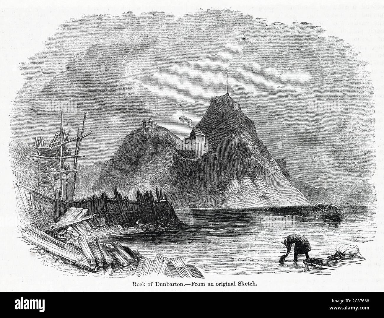 Vista del castello di Dumbarton e Dumbarton Rock, sul fiume Clyde, Scozia. Data: 1841 Foto Stock