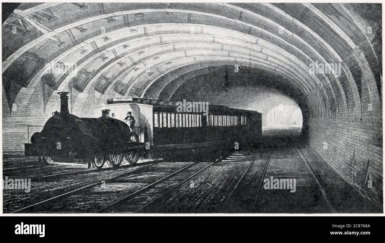 Primo treno della metropolitana, che parte da Edgware Road fino a Kings Cross, Londra. I lavori di costruzione della linea metropolitana iniziarono nel 1853, e il primo viaggio avvenne dieci anni dopo. Data: 1863 Foto Stock