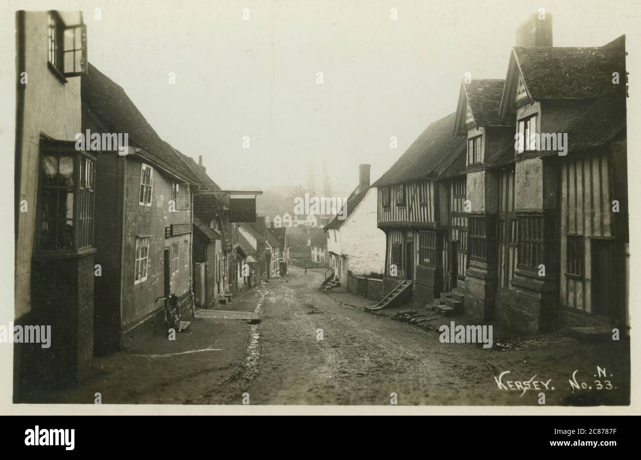 The Street, Kersey, Ipswich, Babergh, Suffolk, Inghilterra. Data: 1900 Foto Stock