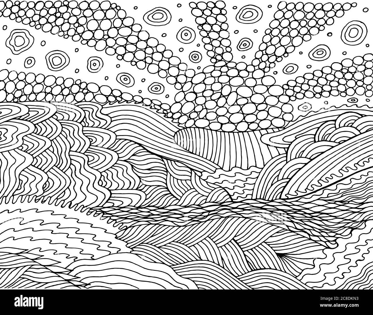 Paesaggio Psichedelico Pagina Da Colorare Per Adulti Mare Sunset Sun Oceano Cielo E Clound Onde Oceaniche Illustrazione Sul Mare Disegno Di Doodle Vettore Ar Immagine E Vettoriale Alamy