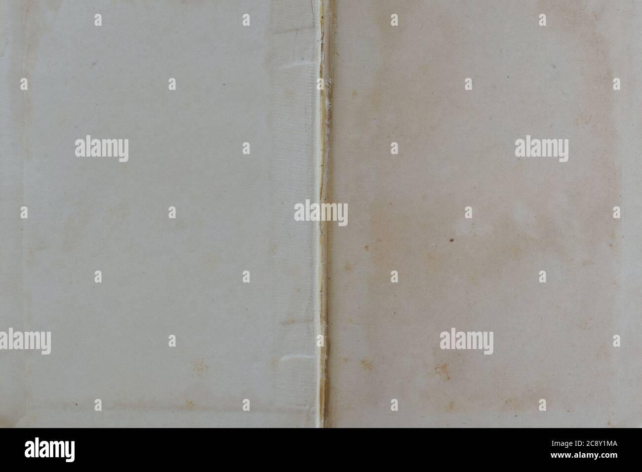Libro di cento anni pagine bianche e rilegatura interna con cerniera a spina con tessuto e colla. Foto Stock