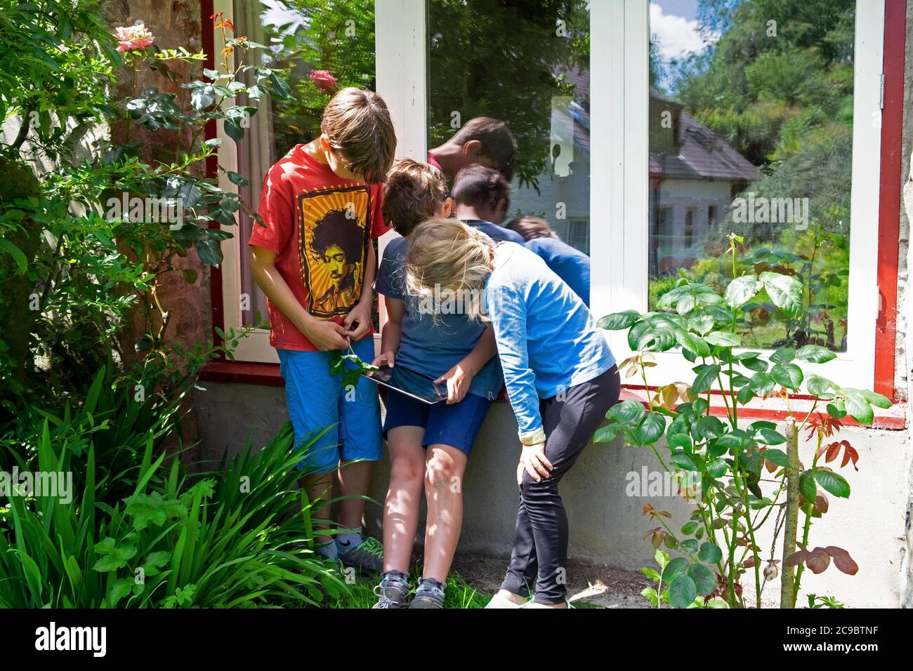Bambini amici bambini giocare gioco su ipad su staycation in campagna dopo il blocco Covid 19 è allevato Carmarthensshire Galles UK KATHY DEWITT Foto Stock