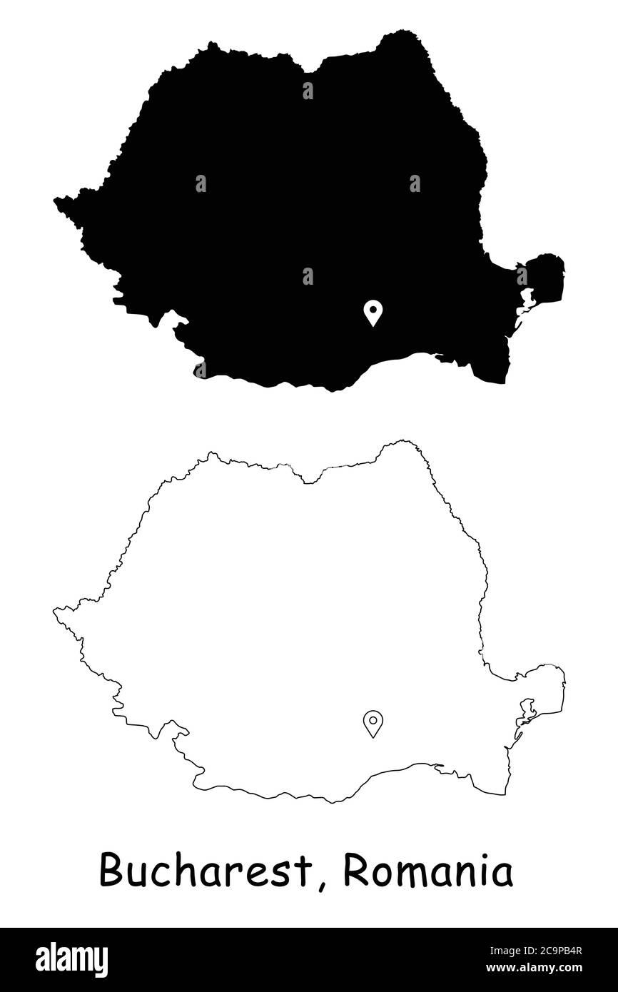 Cartina Dettagliata Romania.Bucarest Romania Mappa Dettagliata Del Paese Con Il Pin Della Posizione Sulla Citta Capitale Silhouette Nera E Mappe Di Contorno Isolate Su Sfondo Bianco Vettore Eps Immagine E Vettoriale Alamy