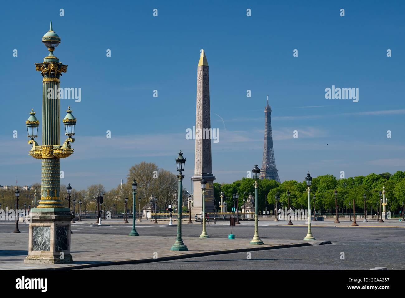 Place de la Concorde di Piazza della Concorde è una delle principali piazze pubbliche a Parigi, Francia Foto Stock