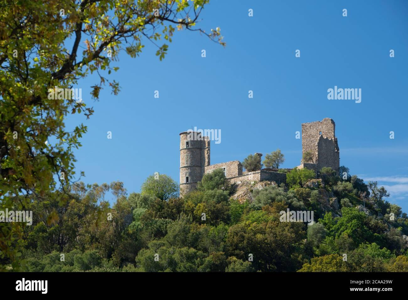 Golfo di Saint Tropez, villaggio di Grimaud, il castello Foto Stock