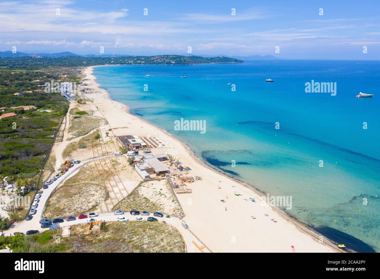 Reparto Var, Ramatuelle - Saint Tropez, veduta aerea della spiaggia di Pampelonne, la famosa spiaggia situata sulla Costa Azzurra Foto Stock