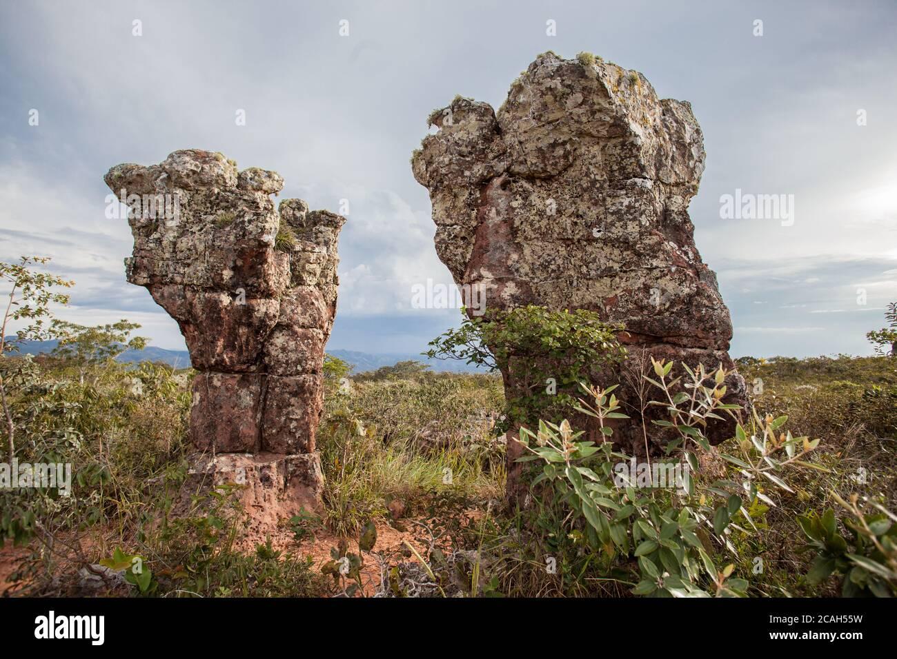 Città di pietra al Parco Nazionale di Chapada dos Guimaraes - Mato Grosso - Brasile Foto stock - Alamy