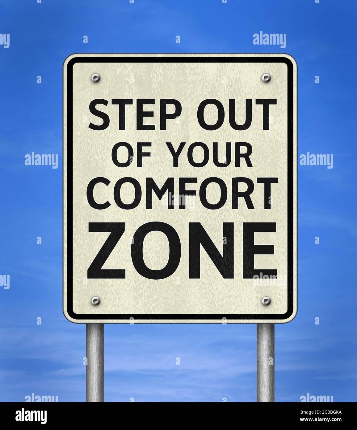 Passo al di fuori della vostra zona di comfort Foto Stock