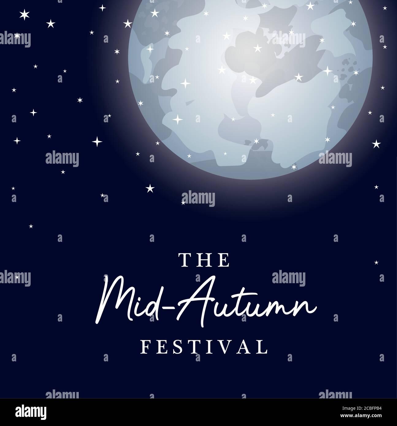 Festa della luna raccolto a metà autunno con disegno delle stelle, cinese orientale e tema di celebrazione illustrazione vettoriale Illustrazione Vettoriale