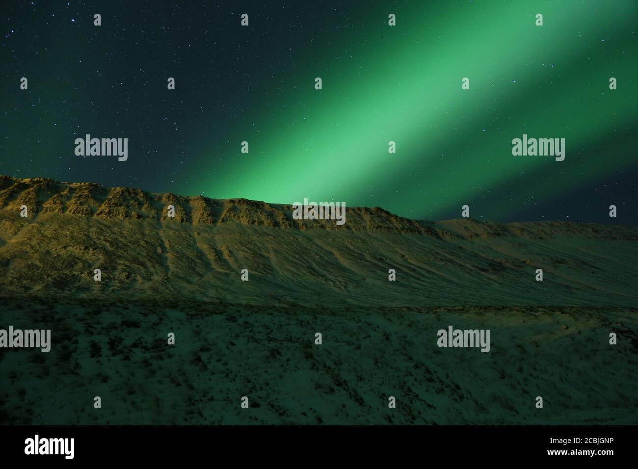 Aurora boreale sopra i Westfjords in Islanda Foto Stock