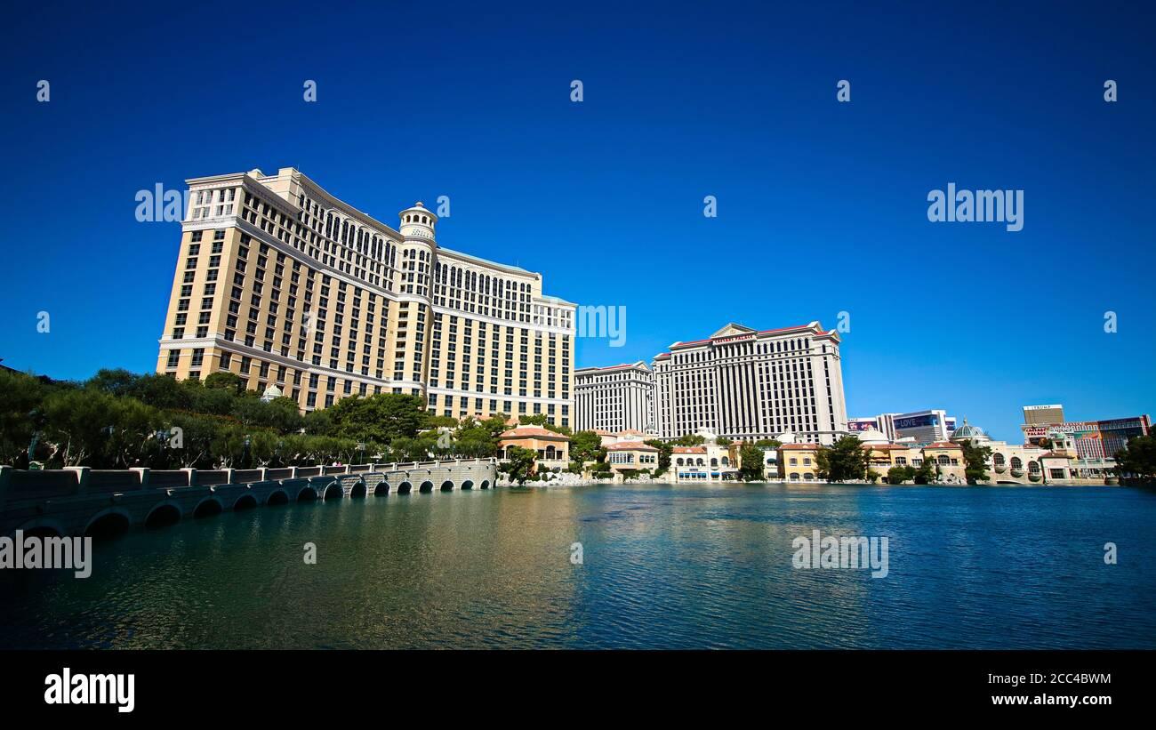 Las Vegas, NV/USA - Set 16,2018 : Visualizza gli hotel e il casinò di Bellagio a Las Vegas, Stati Uniti. Las Vegas è una delle principali destinazioni turistiche del mondo. Foto Stock