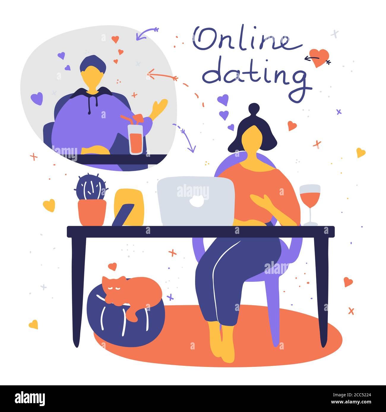 Una coppia che parla online durante la pandemia. Uomo e donna flirtare online sul sito di incontri. Concetto di datazione virtuale. Immagine piatta vettoriale Illustrazione Vettoriale