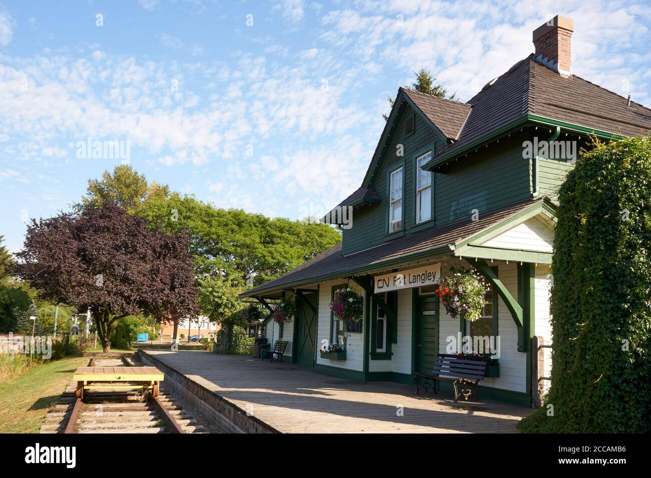 Heritage CNR Canadian National Railway Station nella città di Fort Langley, British Columbia, Canada Foto Stock