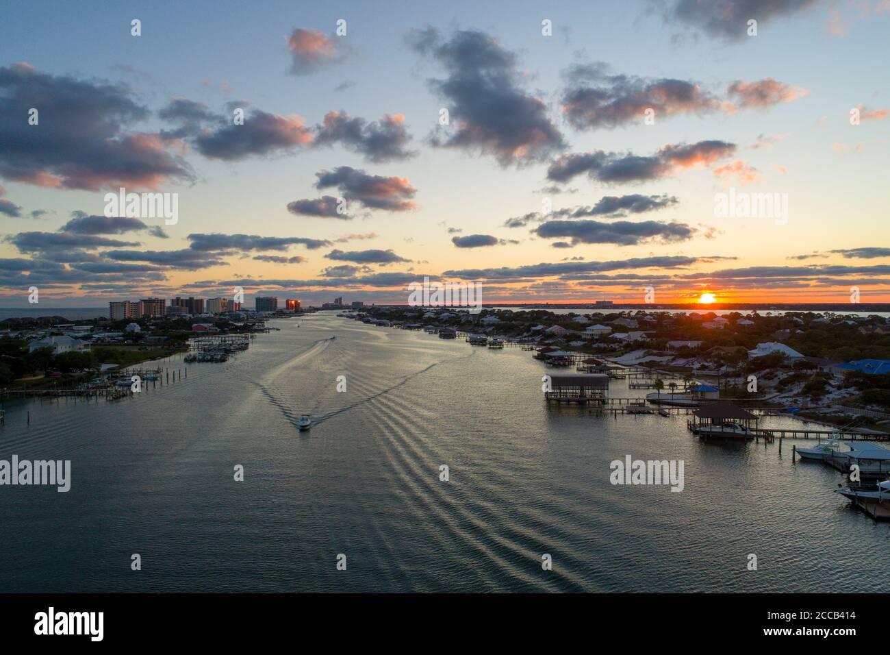 ONO Island e Perdido Key al tramonto Foto Stock