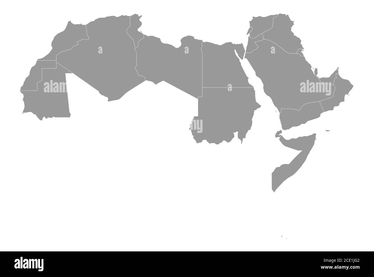 Cartina Degli Stati Del Mondo.Mappa Politica Degli Stati Del Mondo Arabo Con 22 Paesi Di Lingua Araba Illuminati Africa Settentrionale E Medio Oriente Illustrazione Vettoriale Immagine E Vettoriale Alamy