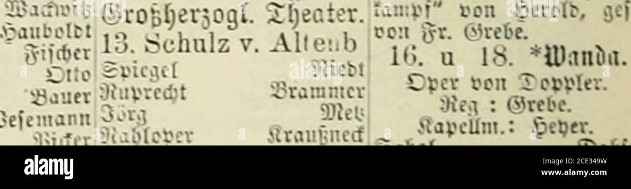 . Deutsche Bühnen-Genossenschaft . )II(bct McpbiftopbelcS gcrflev SEJur-,eliepp aitfs stflJt-shfBitt.  ;;j^ U. Bürger!, n. rom. ®£nä?r Satbarina FS itb ran TT«;-™«- SanifÄjCari SSauerl e )alliI-2l)CiltCt.si-erncri Xirection: 3cunB.h-f S säapeKmciilcr: Seriiboif.fitcbroM j;j.,i.. G,JTB,ir5. ^*^ ? Pariser L beii. Jpcv3 stiamb,!* 9!i*!er Sfidiel -tiänficr 1. äc^UbroacpcSofpai:er 2. ,.Xacitcit 3. Oiobinfon 9fc,v •SAC!nji*5 5.i!atin (Stall-, iittlvi Sififi2.Viatb.in (Jbrbartt 9icd)a .TnoU iaia otto leaipcfbcrr Spitoni Xerwifii ^ l-patriarcb <l.!tleny?Inna F ©Bericbe. .vjioflcrbrnbet «niet- Foto Stock
