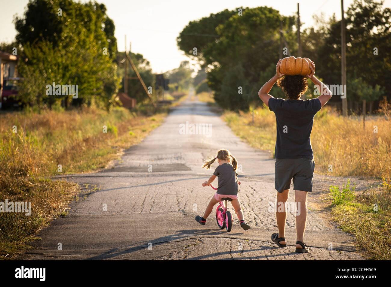 Bambina piccola, in bicicletta, con il suo giovane padre che porta una grande zucca di Halloween sopra la testa, su una strada di campagna al tramonto. Vista posteriore. Foto Stock