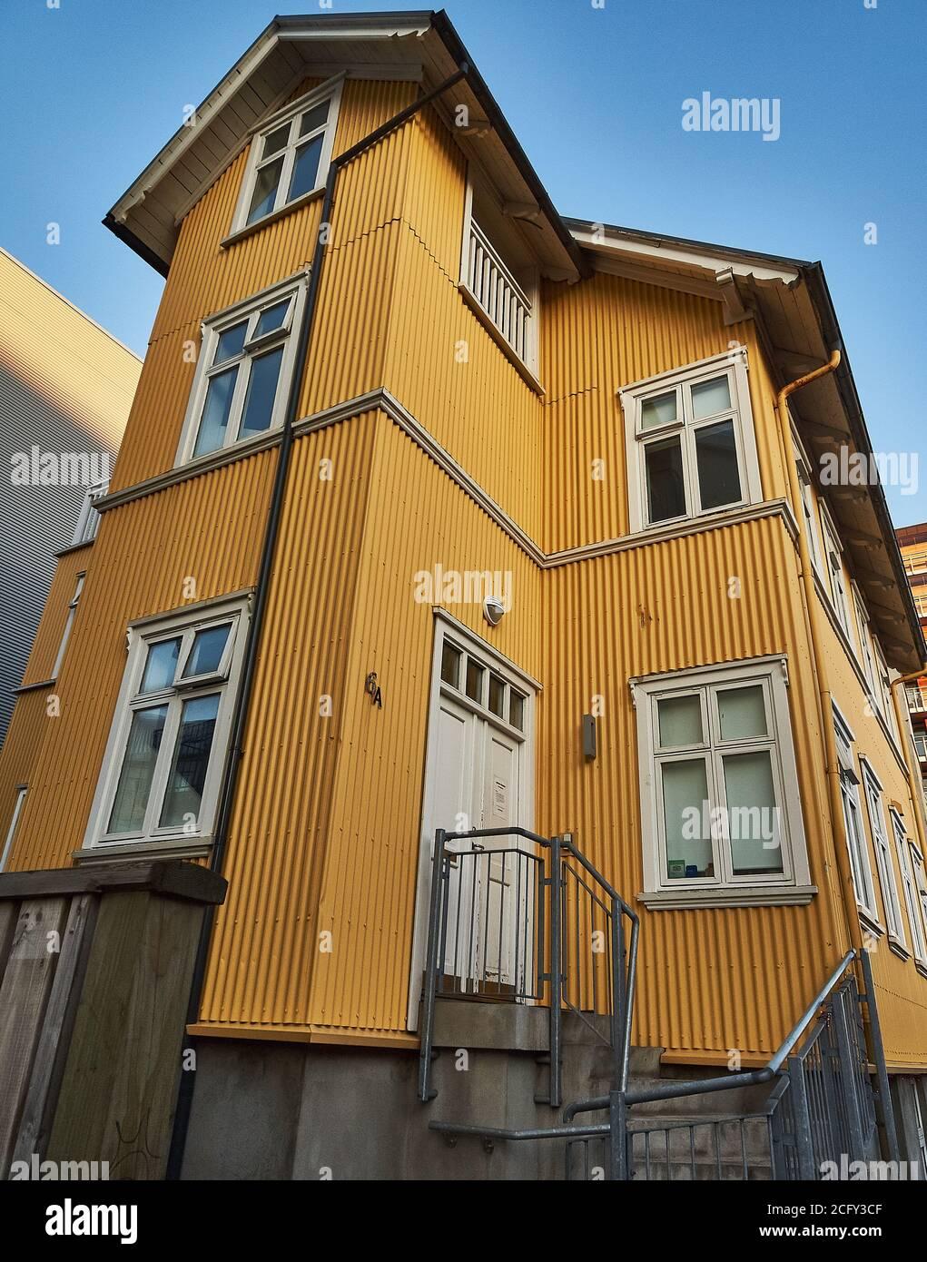 Case tipiche nel centro di Reykjavik, Islanda Foto Stock