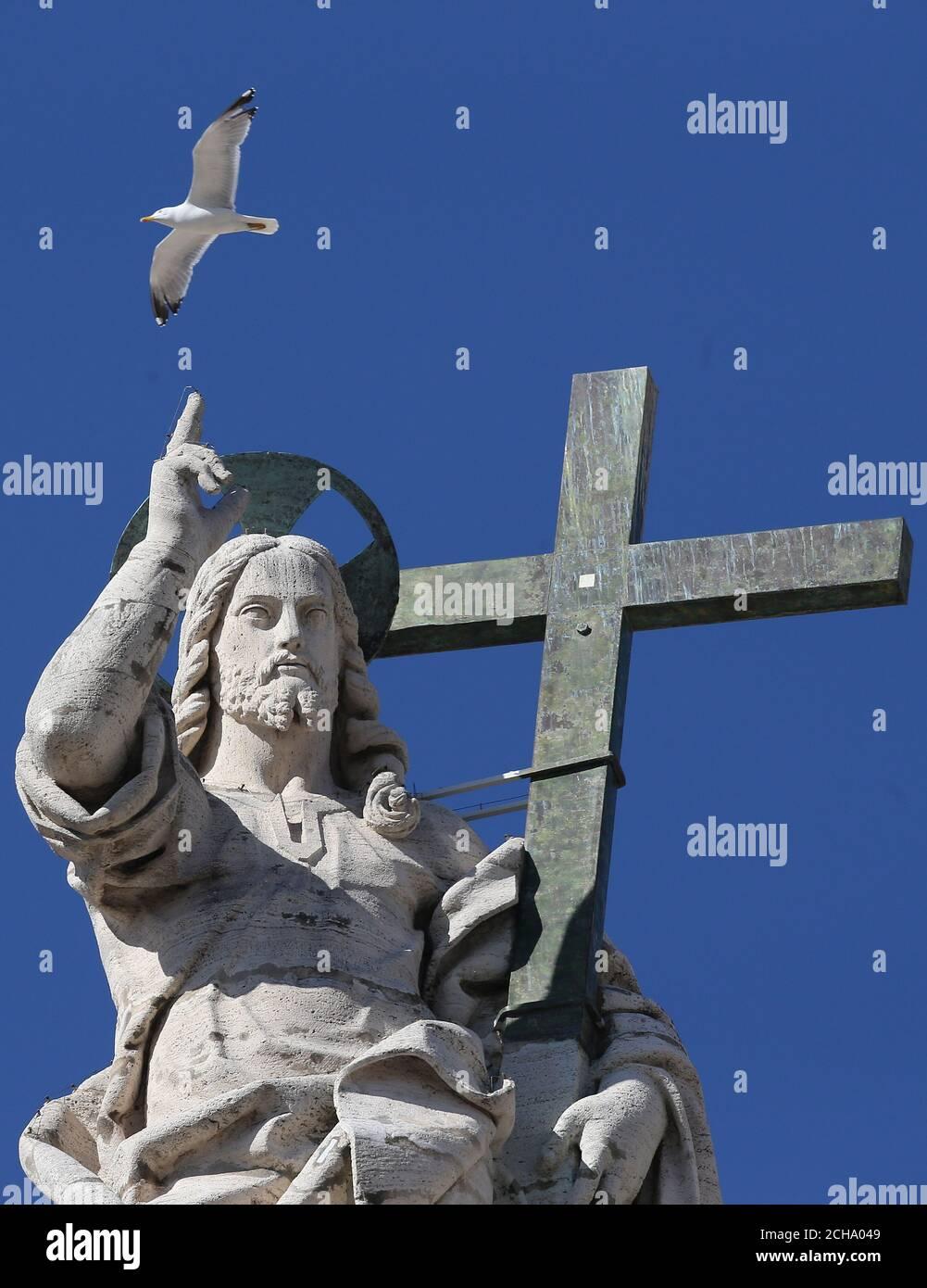 Un gabbiano sorvola una statua di San Pietro mentre Papa Francesco (non raffigurato) conduce la sua udienza generale settimanale in Piazza San Pietro in Vaticano, 2 marzo 2016. REUTERS/Alessandro Bianchi Foto Stock