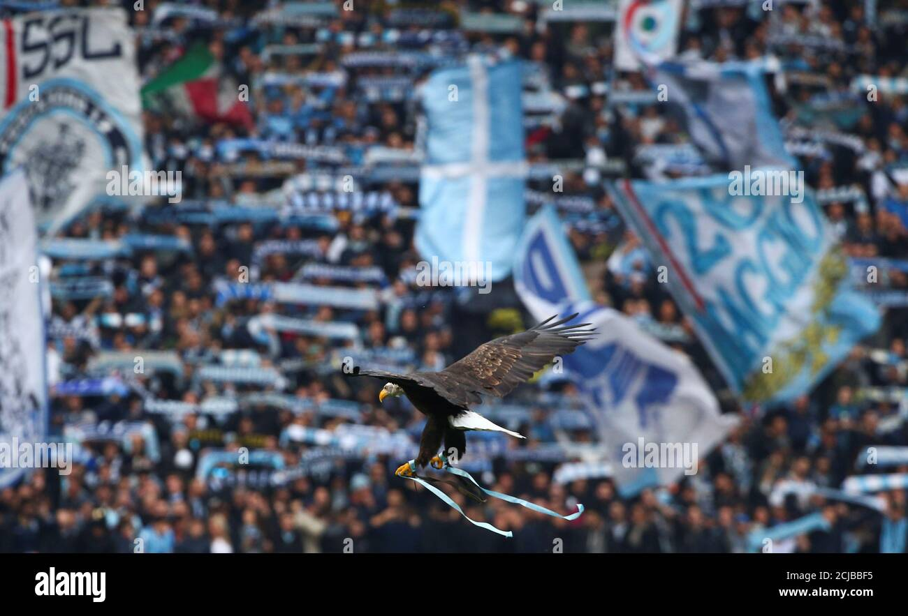 Football - Soccer - Lazio v AS Roma - Italian Serie A - Olympic Stadium, Rome, Italy - 4/12/2016. Lazio's mascot, a white headed eagle called Olimpia, flies prior to the start of the match against AS Roma. REUTERS/Alessandro Bianchi Foto Stock
