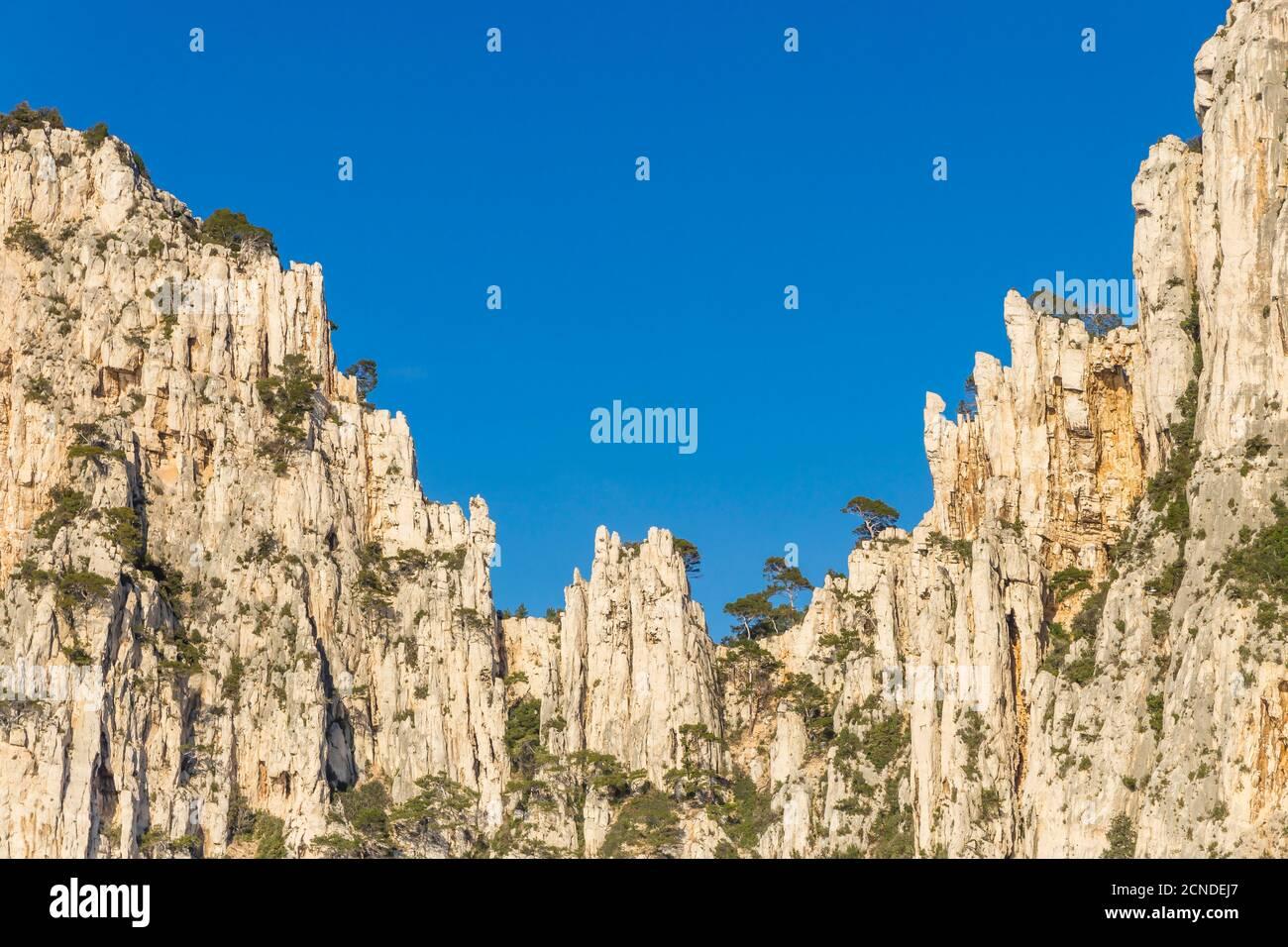 Formazione rocciosa a Calanque de l'Oule, Parco Nazionale Calanque, Marsiglia, Bocche del Rodano, Provenza, Francia, Europa Foto Stock