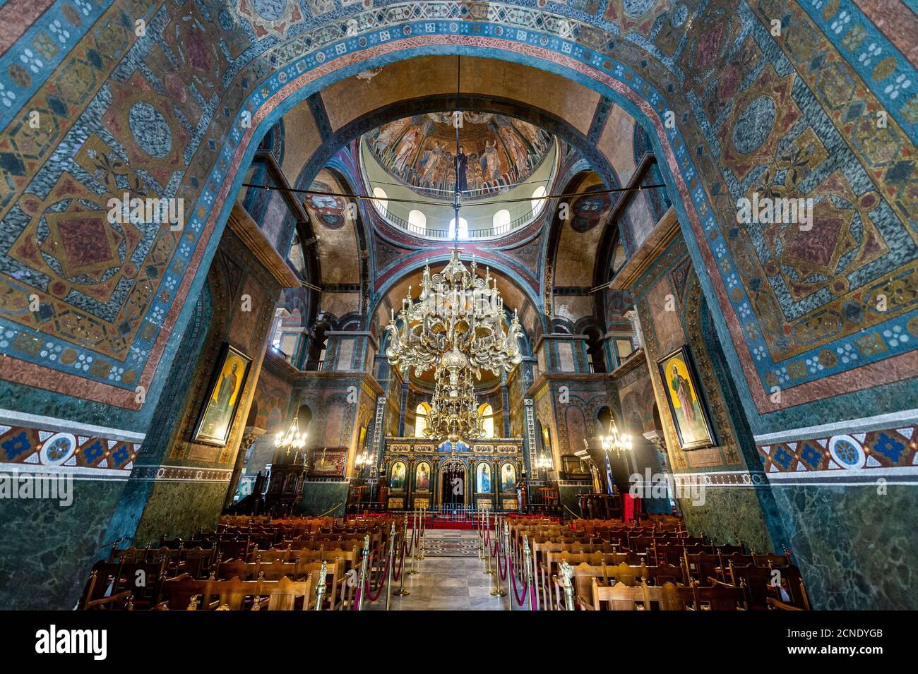 All'interno della chiesa di Santa Sofia, patrimonio dell'umanità dell'UNESCO, Salonicco, Grecia, Europa Foto Stock