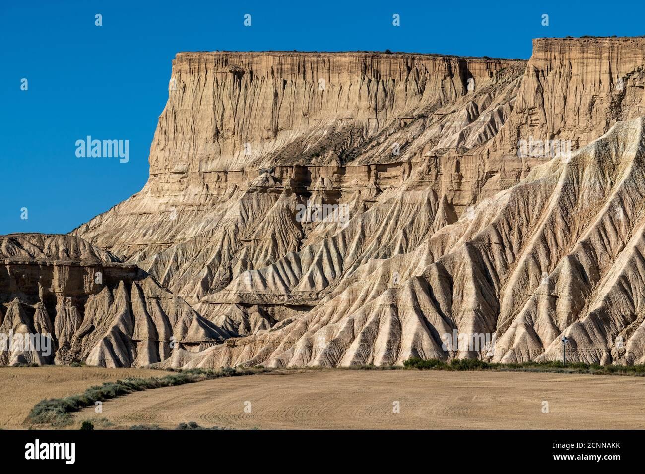 Formazioni rocciose, Bardenas Reales Badlands, Navarra, Spagna Foto Stock