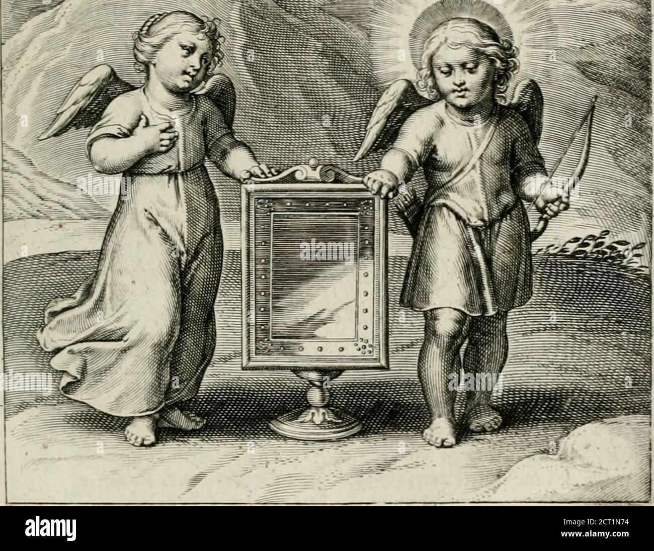 . Amoris divini emblemata . ndum crea in me Deus,&: Fpiricum reduminnoua in visceribus meis. Pulchraes amica mea, & macula non eft in te. Si Deo aliquid diligendo vel pnponimiis vel arqua-mus,nos ipfos diligcre nefcimiis. Meno Domine te amat, qui aliquid tecum amar, quod propter te non amat. Non posso. 4. Augufl. In Idem iaConfejf. Es Amor vn claro efpejo.en cuyo limpio cri Halse vè Dios al natural. GElijck cen fpieghel fchoon en klaer i Ç ^ tiiroir iia Plus degrxceMoet de verliefde fíele wefen, 1 vj pour eílrc en vn endroiñt, loet de verliefde fíele wefen,Gantfch fonder vleck,en dat-men daeroh Maf Foto Stock