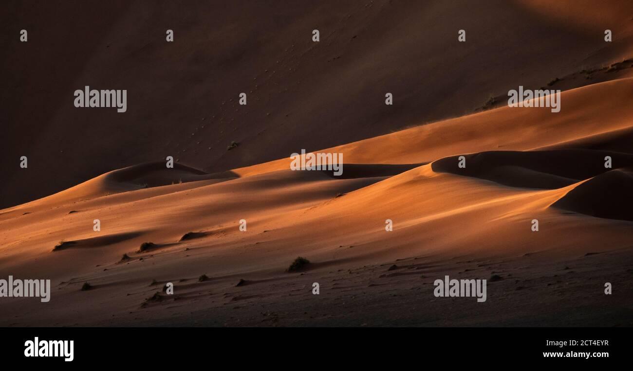 Astratto contrastato delle dune di sabbia rossa ricche di ossidi nel grande mare di sabbia della Namibia. Foto Stock