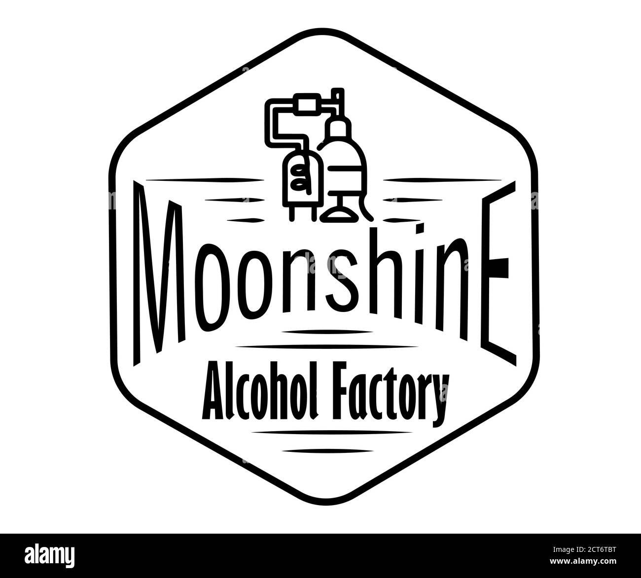 Emblema dell'industria dell'alcool, distillazione di affari. Collezione vettoriale di bevande alcoliche disegnate a mano. Set di adesivi per whiskey, bourbon, moonshi Illustrazione Vettoriale